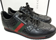 GUCCI Men's Low Profile SL 73 Sneakers Web Black Leather Shoe 8 Uk- 9 US