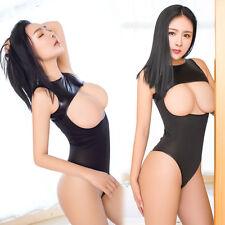 Sexy&Hot Women Jumpsuit Lace Open Bra Nightwear Halter Lingerie Underwear Black