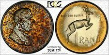 1967 SOUTH AFRICA 1 RAND SILVER PCGS PR64 UNC TONED INTENSE COLOR