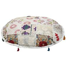 """22"""" White Patchwork Embroidered Pouf Cover Cotton Round Floor Cushion Cover"""
