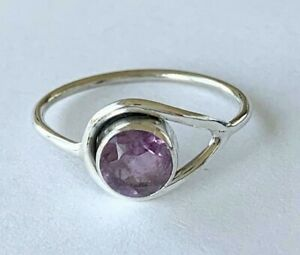 925 Sterling Silver Stackable Amethyst Round Gemstone Stack Ring Size US 6 7 8 9