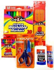 School Supplies Bundle Fiskars Elmer's Crazart Scissors Markers Crayons Etc. K-6