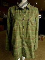 Cabela's Womens Button Collar Plaid Long Sleeved Green Pink Shirt XLarge Tall