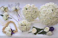 Wedding Bouquet Posy Flowers Buttonholes Corsage Bride White Ivory Bridesmaid