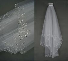 Ivory 2 Tier   Elbow Sequins Beaded Edge Wedding Bridal Veil With Comb  LBse