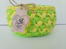 Easter gift, yellow green colours crochet basket, knitted gift, home storage