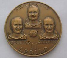 """Vintage Apollo 11 NASA Armstrong Collins Aldrin July 1969 Bronze coin 2.5"""""""