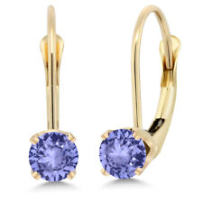 14k Yellow Gold 0.60 Ct Round Blue Tanzanite Leverback Earrings