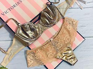 Victorias Secret Dream Angels Wicked Unlined Uplift Bra Set Lace Shine Pink