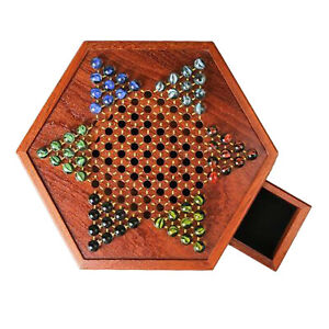 Classic Chinese Checkers Fine Chessboard Set with Drawer Storage Kids Adults