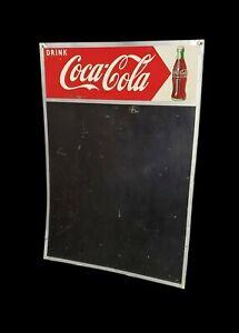 Vintage 1955 COKE Coca ~ Cola Tin Litho Robertson Chalkboard Bottle Sign