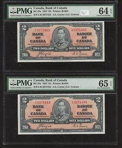 2 Consecutive 1937 Bank of Canada $2 PMG Gem Uncirculated 64/65 EPQ Banknotes