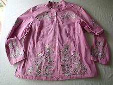 quacker factory lilac jacket coat zip sz.1X rhinestoens Embroidered floral **