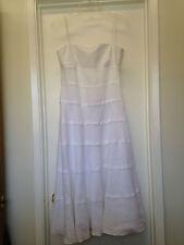 Armani Collezioni White Sleeveless Linen Tiered Lined Dress Sz 6 Gorgeous !
