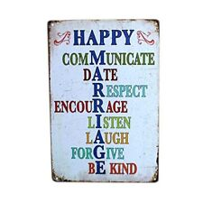 """Tin Metal Sign 8"""" x 12"""" Happy Marriage Wall Decor Sign"""