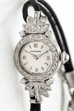 Antique 1930s 1.50ct VS G Baguette Diamond MOVADO Platinum Ladies Watch WARRANTY