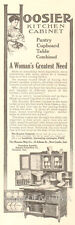 Antique 1907 Hoosier Kitchen Cabinet WOMAN'S GREATEST NEED Cooking Ad