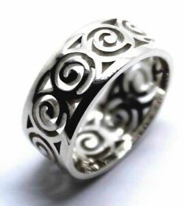 Kaedesigns New Solid Genuine 9ct 9k White Gold Swirl Surf Wave Ring