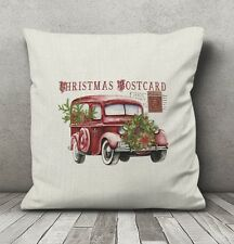 Christmas Vintage Car with Christmas Tree Faux Burlap Pillow 16 inch