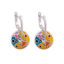 Damen Ohrringe 925 Sterling Silber Emaille Ohrhänger NEU