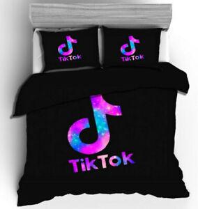 Colorful Tik Tok Black Duvet Quilt Cover Bedding Set Comforter Cover Pillowcase