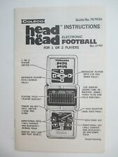 Vintage Coleco Head to Head Electronic Football Video Game Instructions Manual