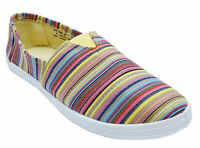 WOMENS STRIPEY YELLOW CANVAS FLAT PLIMSOLL PUMPS COMFY CASUAL WALKING SHOES