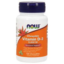 Now Foods Vitamina D3 D-3, 5000iu X 120 masticable, Natural sabor menta 5,000IU