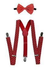 Red Polka Dots Suspender and Bow Tie for Adults Teenagers Women Men (USA)