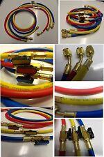 "48"" HVAC 1/4"" SAE 800 PSI Charging Hoses w/Shut Valve HVAC R410a,R22,407a,R134a"