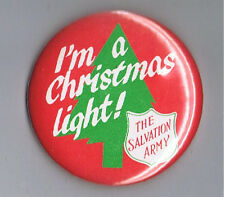 "The Salvation Army I'm a Christmas Light 2.25"" Advertising Pinback Button Tree"