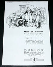 1916 OLD WWI MAGAZINE PRINT AD, DUNLOP AUTOMOBILE, CAR TYRES, MOST GRATIFYING!