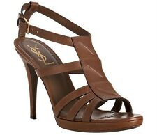 YSL YVES SAINT LAURENT New Riveg 90 Brown T-Strap Platform Sandal Shoe 39 NIB
