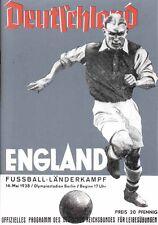 Fußball Football Programm 1938 Deutschland Germany v England Länderspiel REPRINT