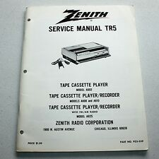 Vintage Zenith Technical Service Manual TR5 Tape Cassette Player Recorder Repair