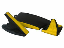 FITS BMW E36 E46 LEATHER ARMREST COVER&GAITERS BLACK YELLOW