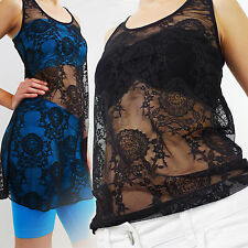 Women Retro Stretch Lace Floral Sleeveless Knit Vintage Vest Tank Tops BLACKS