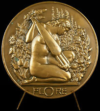 Médaille Flore sc Maurice Delannoy Allégorie des fleurs flowers nude Woman Medal