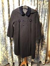 Girls Navy Wool Blend Lined Coat Age 10/12