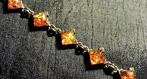 """Art Deco Style Sterling Silver and Baltic Amber Bracelet, 7.50"""""""