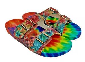 Nicole Miller womens Blingle tie dye bling 2 adjustable buckle sandals US 7