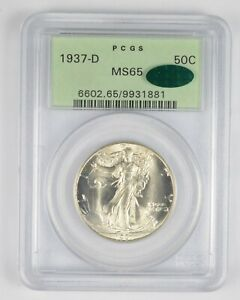 MS65 1937-D Walking Liberty Half Dollar - CAC - Graded PCGS *1102