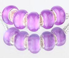 5PCS SILVER MURANO Cat's Eye BEAD Fit European Charm Bracelet Making #B488