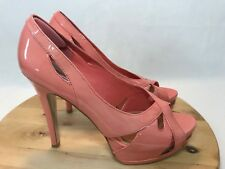 H by Halston Sz 10 Coral Salmon Patent Leather High Heels Platform Peep Pumps