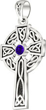 "1.5"" Men Sterling Silver Celtic Knot Cross Tanzanite December Birthstone Pendant"