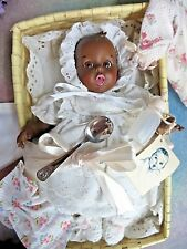 Vintage Black Gerber Baby Doll with Basket bedding 3 Outfits spoon Flirty Eyes