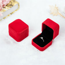 Velvet Engagement Wedding Earring Ring Pendant Jewelry Display Chic Box Red