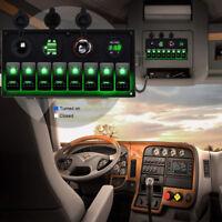 8Gang 12-24V Inline Fuse Box LED Rocker Switch Panel 2 USB Socket Boat Marine RV