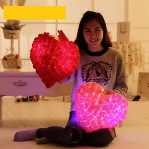 Colorful Rose Romantic Pillow Plush Toy Love Heart LED Luminous Light Cushion