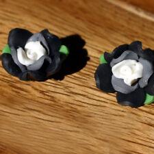 2 Perles FIMO POLYMÈRE - ROSE - Noir/Gris  - 11/20 mm